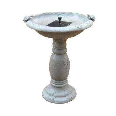 Country Gardens Gray Weathered Stone Solar Birdbath Fountain