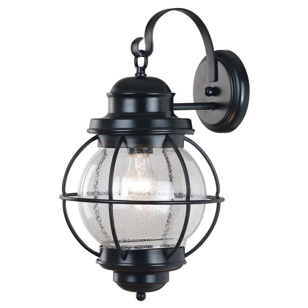 Kenroy Home Hatteras 1-Light Black Large Wall Lantern