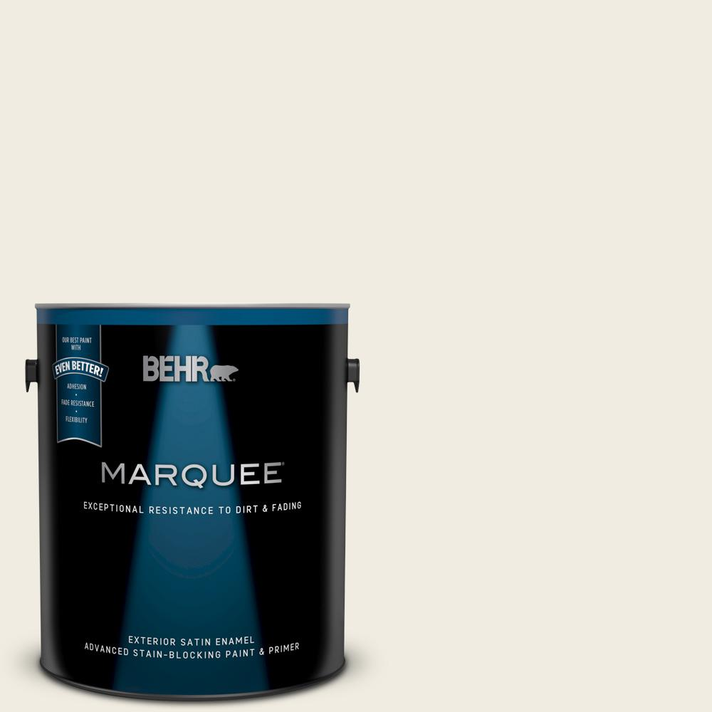 Behr marquee 1 gal 12 swiss coffee satin enamel exterior paint and primer in one 945001 the for Best exterior paint and primer in one