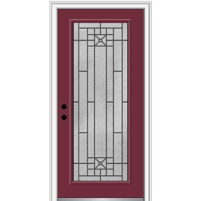 36 in. x 80 in. Courtyard Right-Hand Full-Lite Decorative Painted Fiberglass Smooth Prehung Front Door, 4-9/16 in. Frame