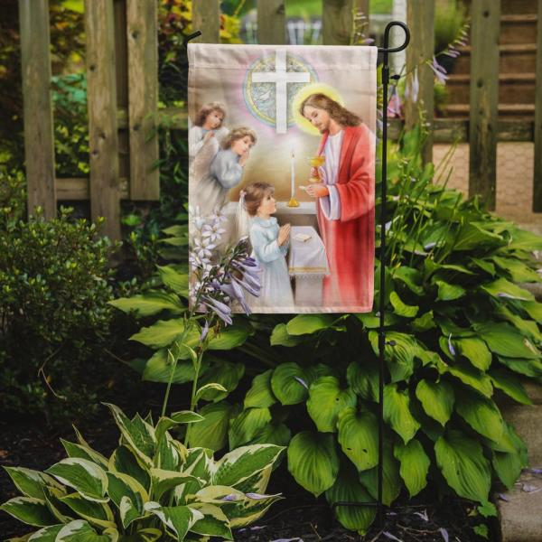 Caroline S Treasures 11 In X 15 1 2 In Polyester First Communion Girl 2 Sided 2 Ply Garden Flag Aph7585gf The Home Depot