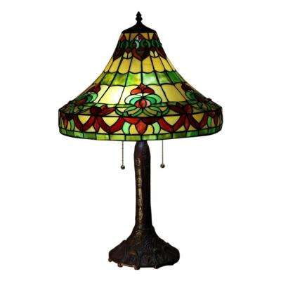 Gretchen 26 in. Bronze Tiffany-Style Table Lamp with Multi-Color Shade