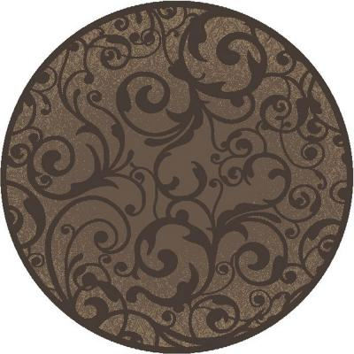 Radici USA Pisa Brown 5 ft. Round Contemporary Scroll Area Rug