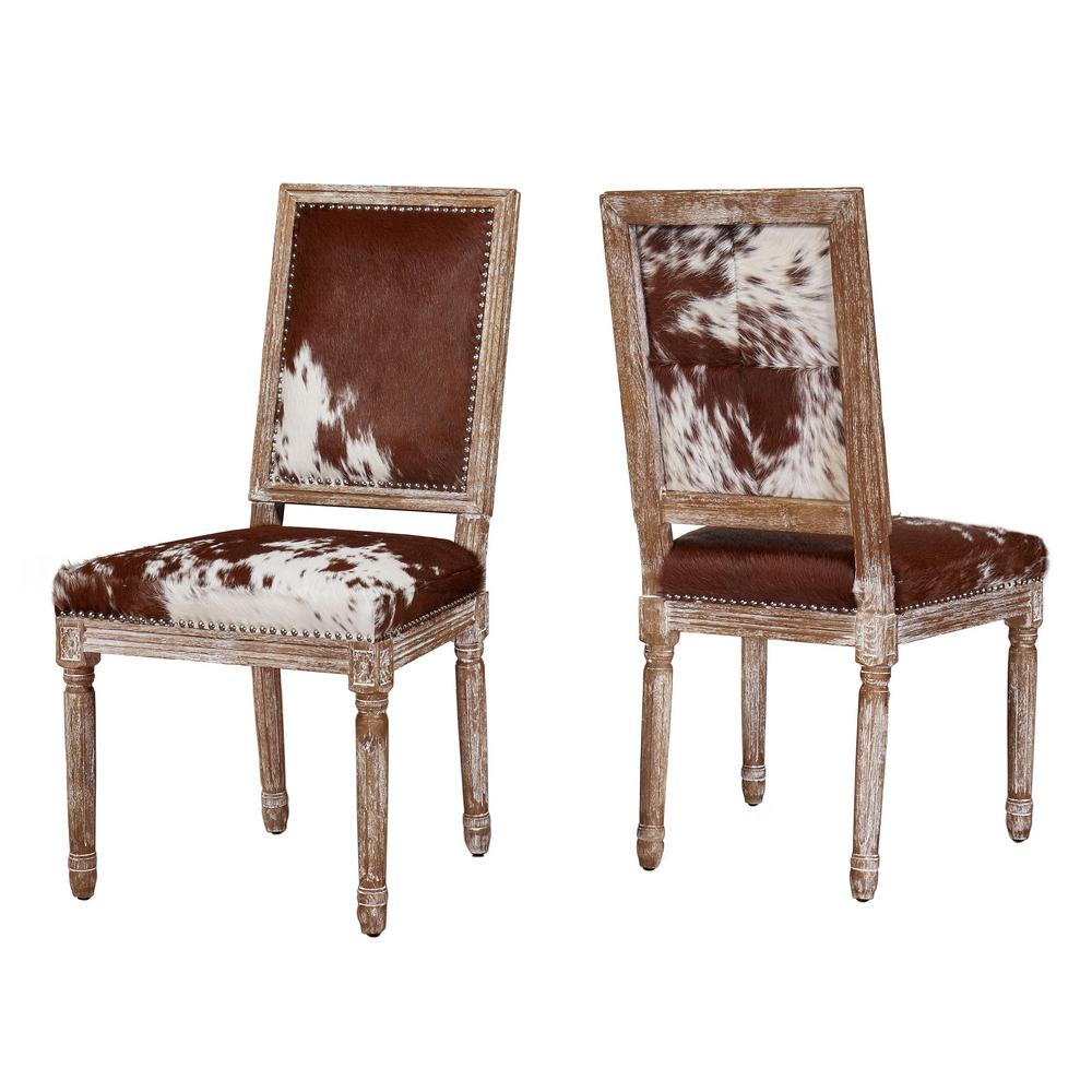 TOV Furniture Cowgirl Hide Leather Chair (Set of 2)-TOV-D2050 - The ...