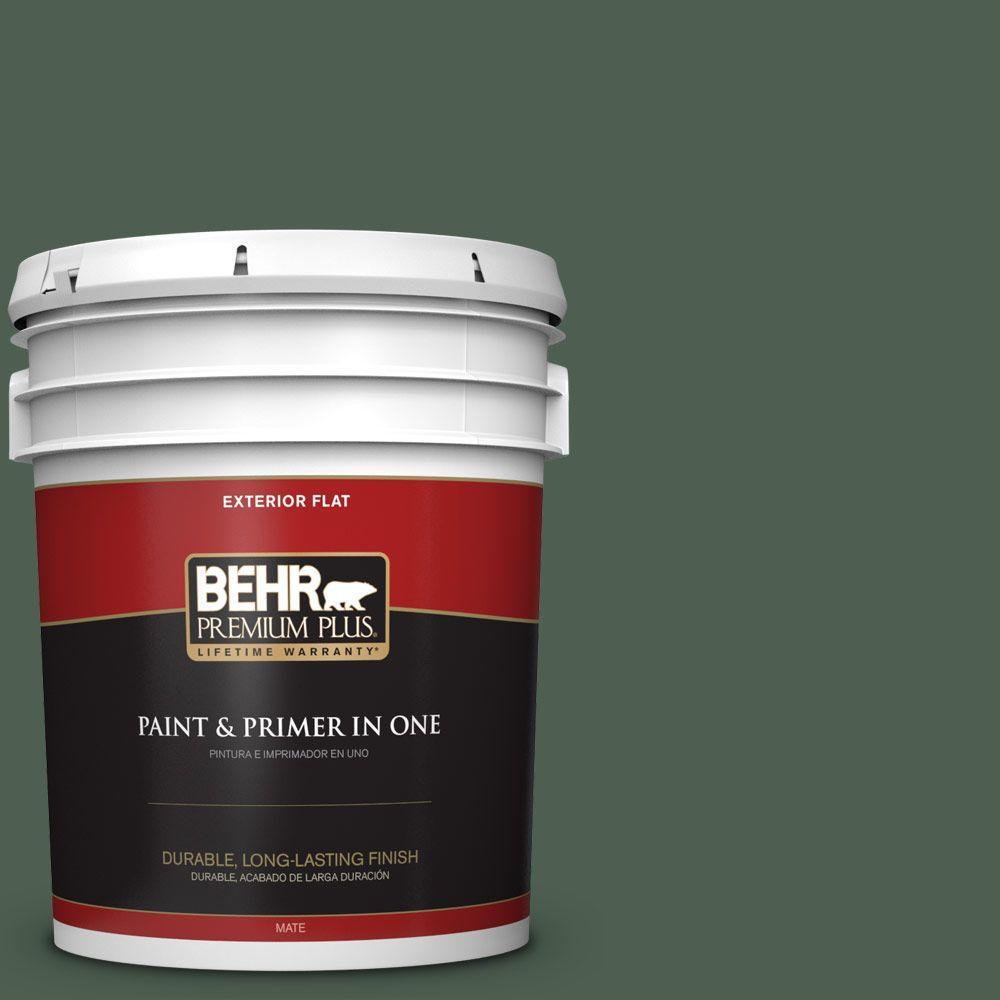 BEHR Premium Plus 5-gal. #N400-7 Vine Leaf Flat Exterior Paint