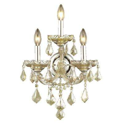 Maria Theresa 3-Light Chrome and Golden Teak Crystal Wall Sconce
