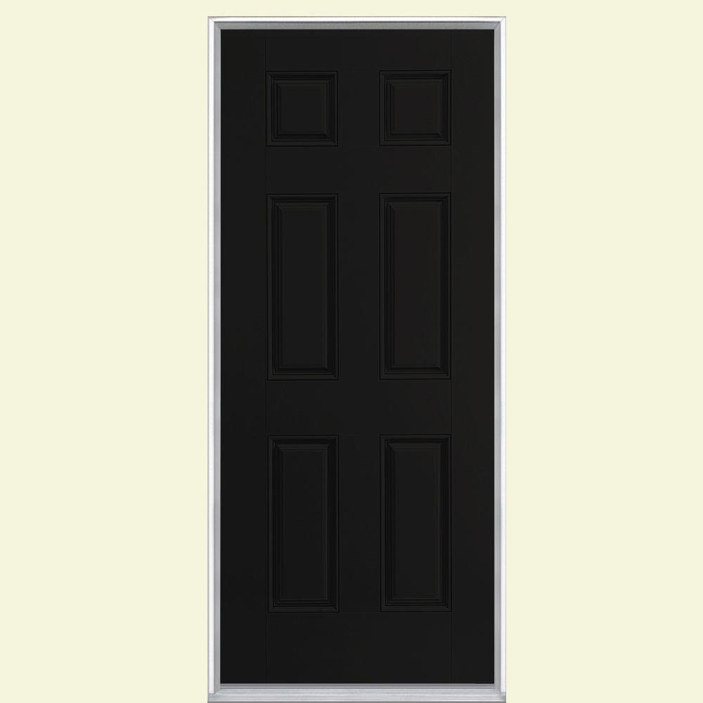 Masonite 36 in. x 80 in. 6-Panel Jet Black Right-Hand Inswing Painted Smooth Fiberglass Prehung Front Door, Vinyl Frame