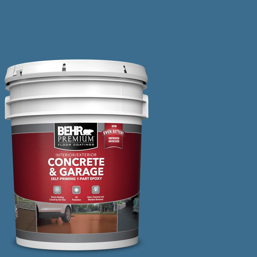 BEHR PREMIUM 5 gal. #M500-5 Sojourn Blue Self-Priming 1-Part Epoxy Satin Interior/Exterior Concrete and Garage Floor Paint