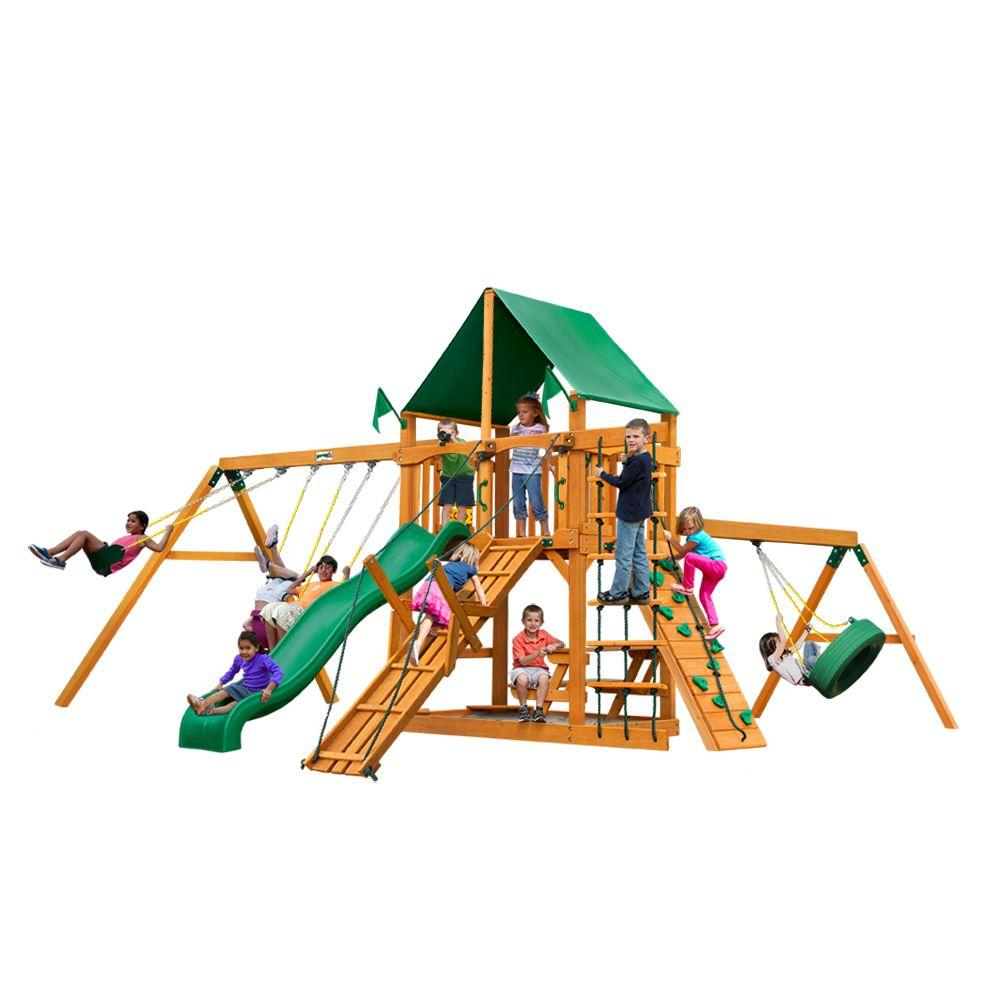 Frontier with Amber Posts and Deluxe Green Vinyl Canopy Cedar Playset