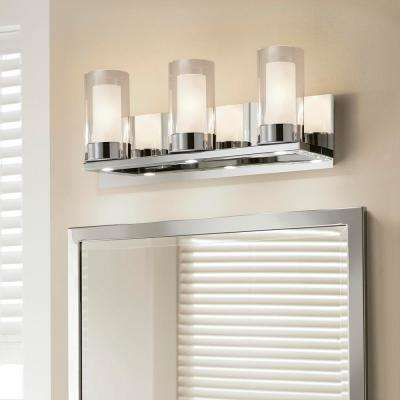 Samantha 19.5 in. 3-Light Chrome LED Bathroom Vanity Light