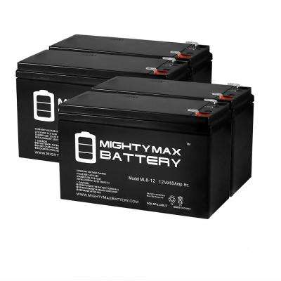 12-Volt 8 Ah SLA (Sealed Lead Acid) AGM Type Replacement Battery for Alarm/Security Systems (4-Pack)