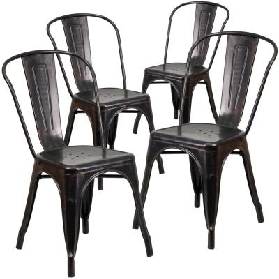 Stackable Metal Outdoor Dining Chair in Black-Antique Gold (Set of 4)