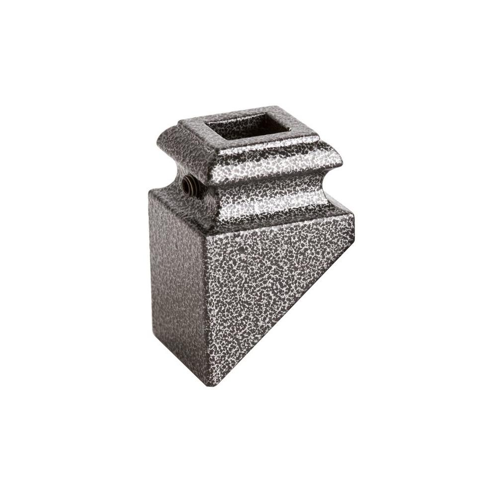 Square Hole 1.3125 in. Aluminum Angeled Shoe Baluster Shoe Silver Vein