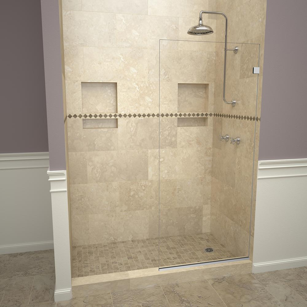 Redi Screen 2300v Series 24 In W X 76 H Semi Frameless Fixed Shower Door Polished Chrome Without Handle