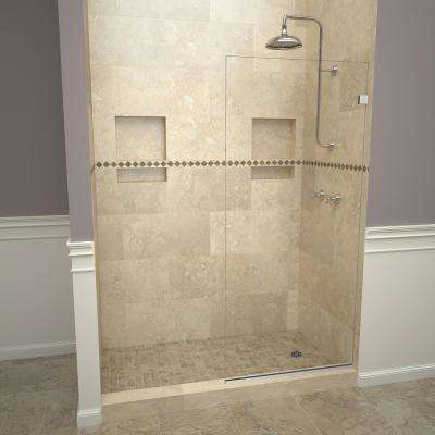 2300V Series 24 in. W x 76 in. H Semi-Frameless Fixed Shower Door in Polished Chrome Without Handle