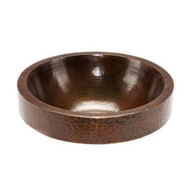 Round Skirted Hammered Copper Vessel Sink in Oil Rubbed Bronze