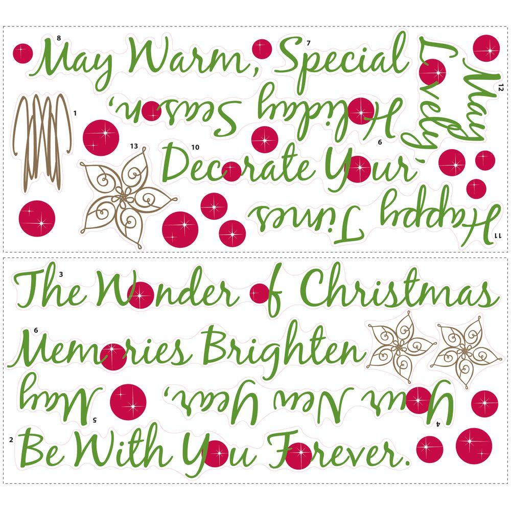 18 in. x 40 in. Christmas Tree Quote 31-Piece Peel and Stick Giant Wall Decals
