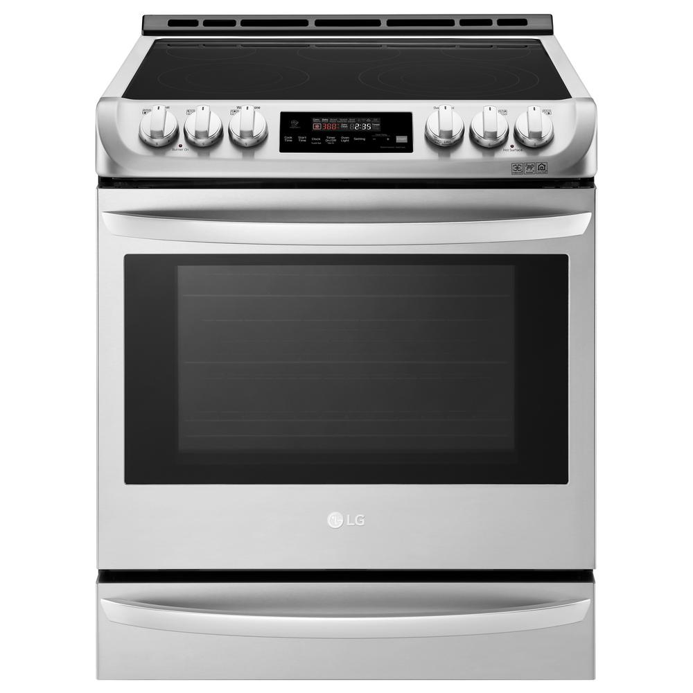 LG Electronics 30 in. 6.3 cu. ft. Smart Slide-in Electric Range with ProBake Convection Oven, Self Clean and Wi-Fi in Stainless Steel