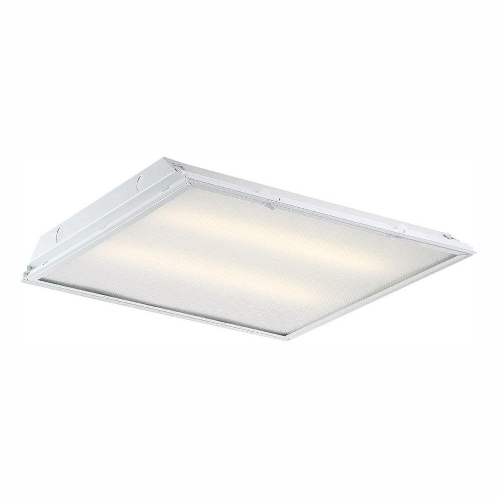 2 ft. x 2 ft. 96-Watt Equivalent White Prismatic Lens Integrated LED Commercial Grid Ceiling Troffer