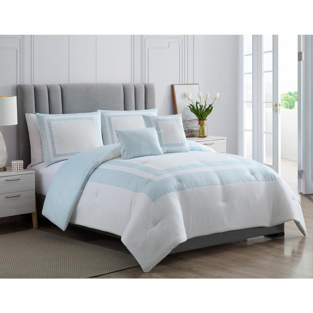 MHF Home Caleigh Blue Full/Queen Seersucker Hotel Comforter Set