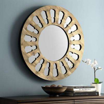 32 in. Rustic Farmhouse Transitional Round Wood Cut-Out Wall Mirror Natural Wash