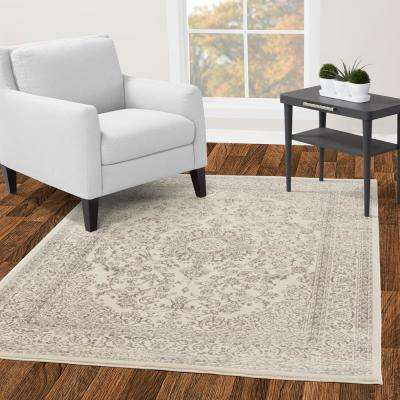 Jasmin Collection Oriental Medallion Design Ivory and Gray 8 ft. x 10 ft. Area Rug