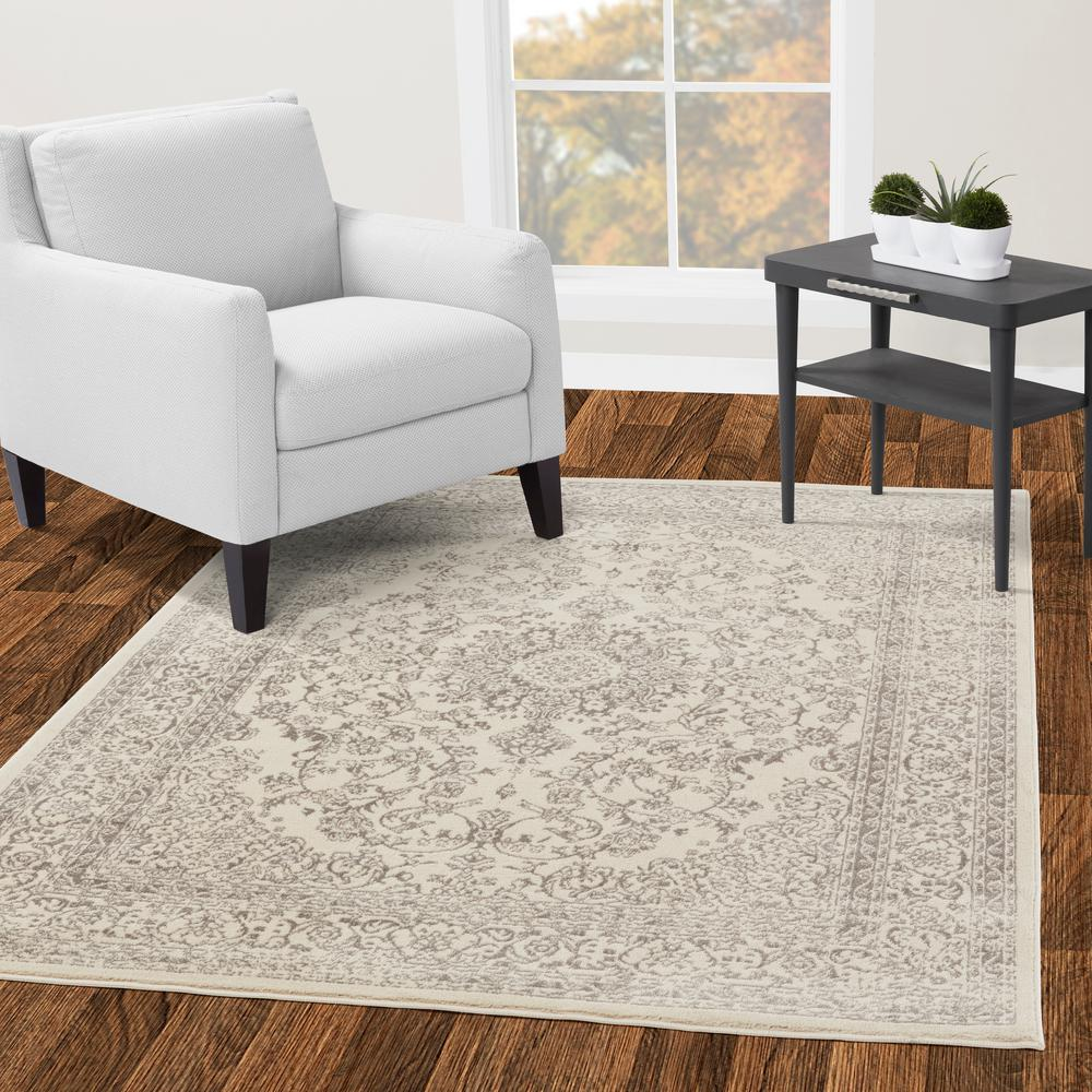 Diagona Designs Jasmin Collection Oriental Medallion Design Ivory And Gray 5 Ft 3 In X 7 Ft Area Rug Jas2162 5x7 The Home Depot