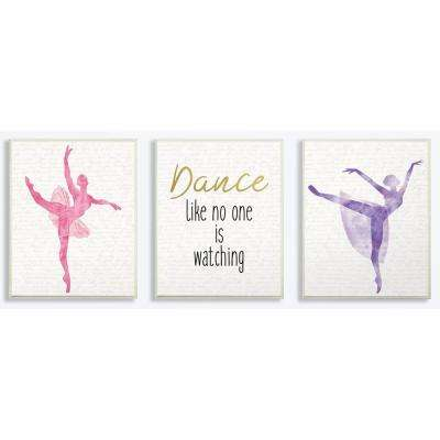"10 in. x 15 in. ""Dance Like No One Is Watching Ballerinas"" by Kimberly Allen Printed Wood Wall Art"