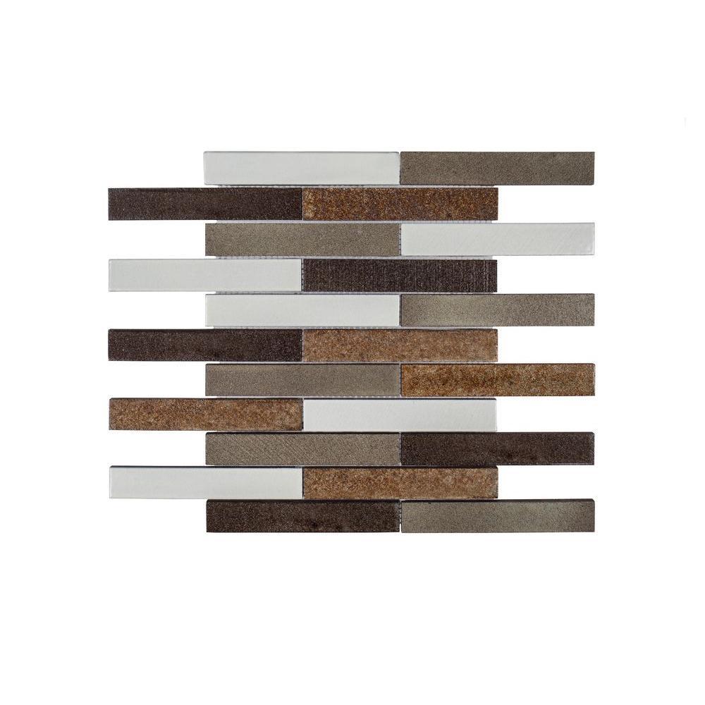 Volcanic River 11-7/8 in. x 15 in. x 10 mm Basalt Mosaic Tile