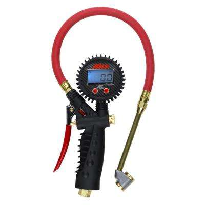 Pro Digital Pistol Grip Inflator Gauge with Large Bore Dual Chuck and 15 in. Hose