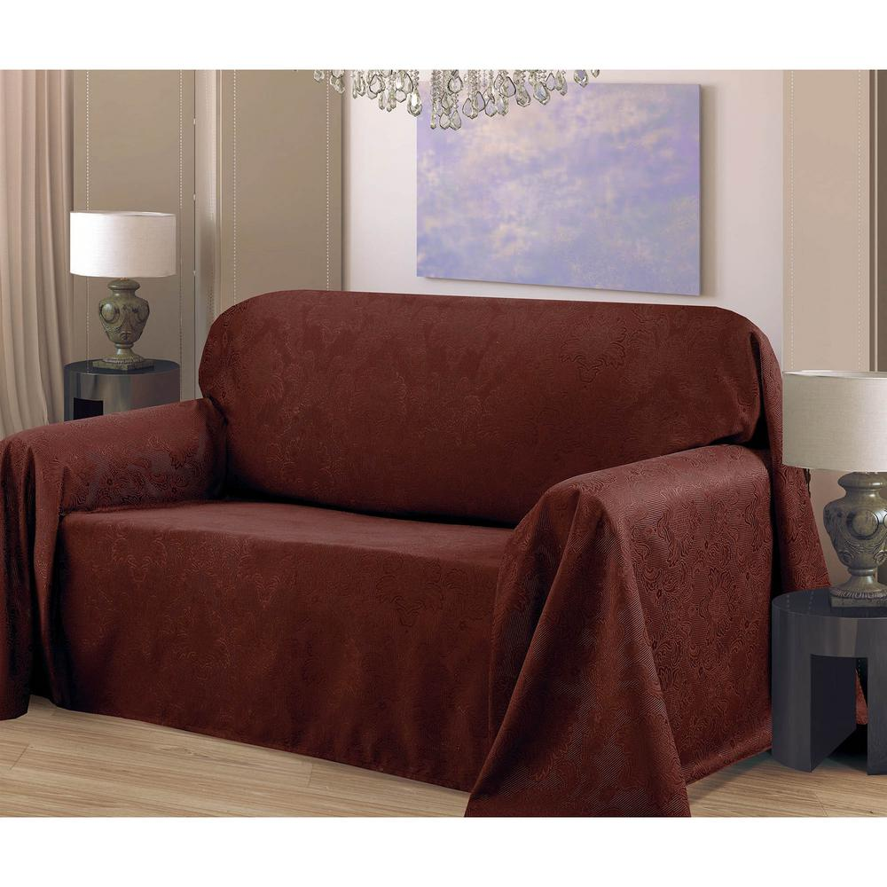 Medallion Jacquard 70 x 90 in. Arm Chair Slip Cover, Chocolate