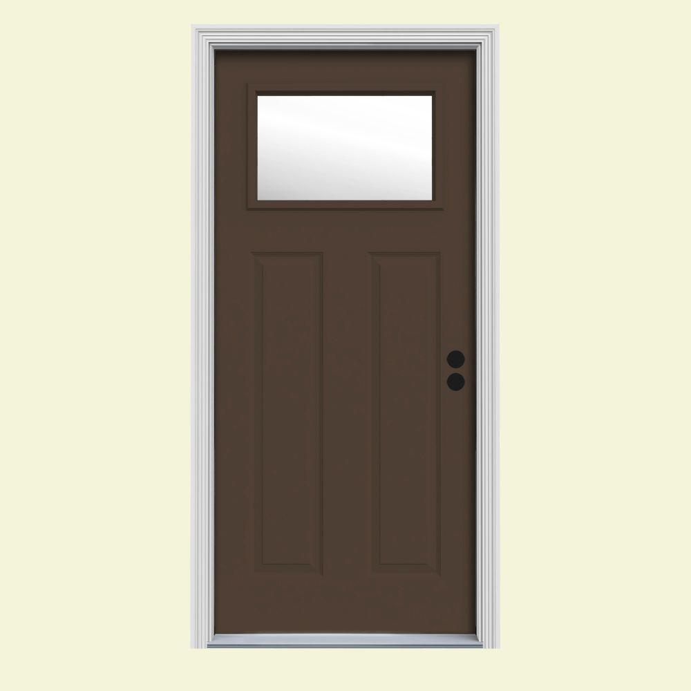 JELD-WEN 34 in. x 80 in. 1 Lite Craftsman Dark Chocolate Painted Steel Prehung Left-Hand Inswing Front Door w/Brickmould