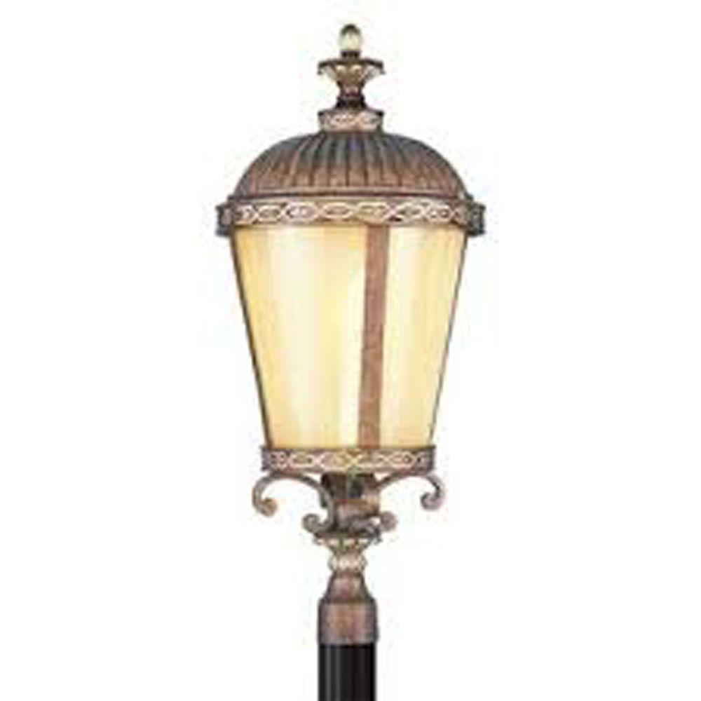 Livex Lighting 1-Light Outdoor Palatial Bronze with Gilded Accents Incandescent Post Lantern