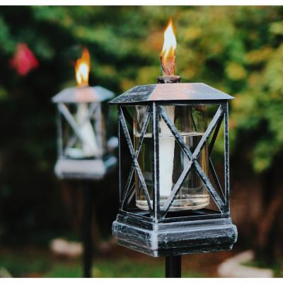 (2) 65 in. Square Beacon Metal Torch Black Plus (2) Petite Lantern Metal Table Torch Black