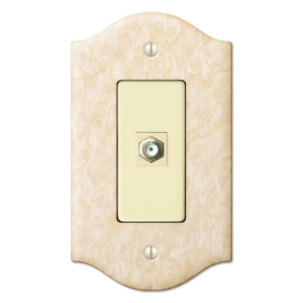 Creative Accents 1 Gang Toggle Steel Video Connector Decorative Wall Plate - Satin Honey