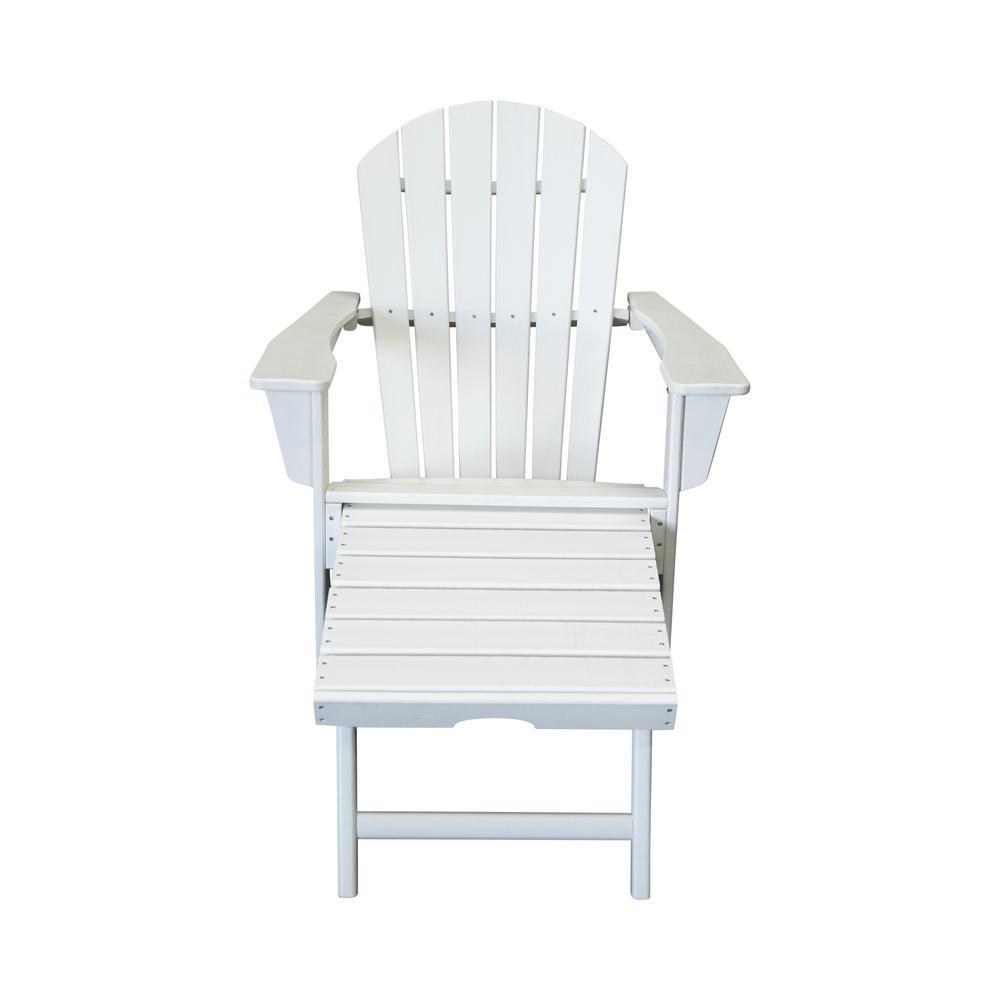 Hampton White Plastic Outdoor Patio Adirondack Chair with Hideaway Ottoman