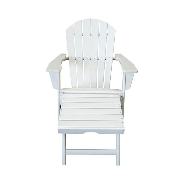 Hampton White Plastic Outdoor Patio Adirondack Chair with Hideaway Ottoman