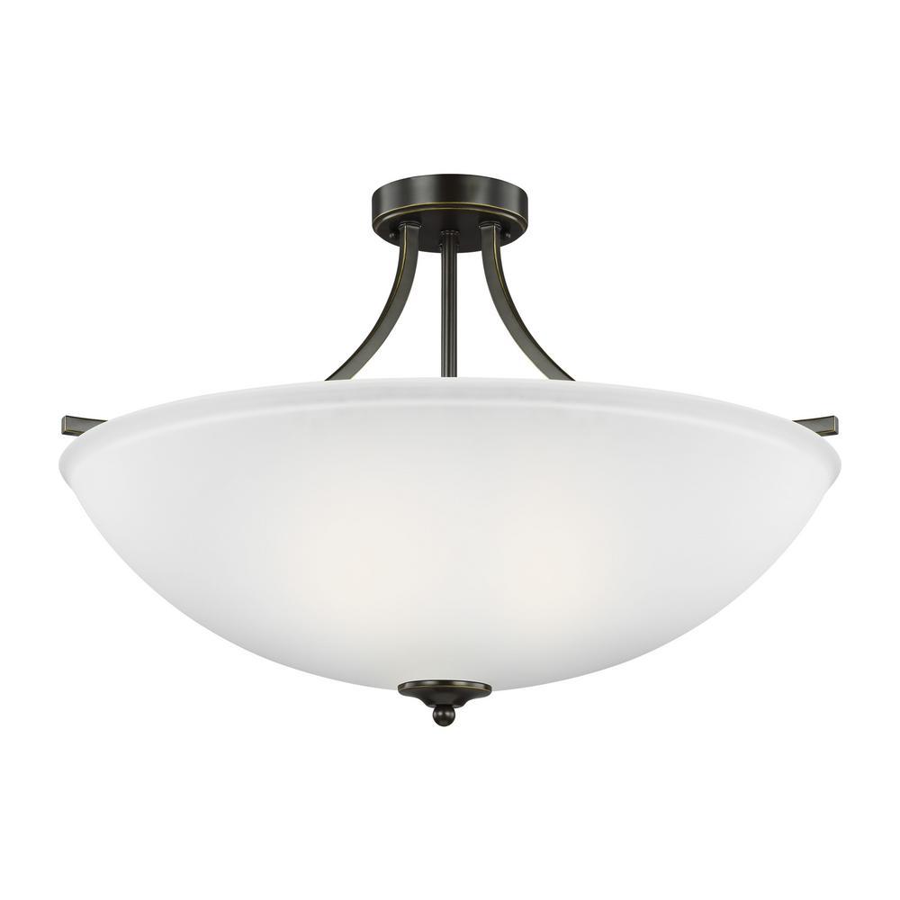 Geary 4-Light Heirloom Bronze Semi-Flush Mount Convertible Pendant