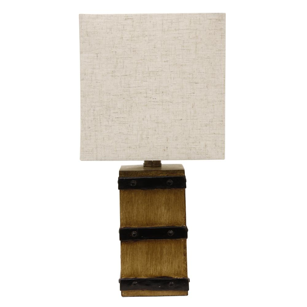 Campbell 15.5 in. Brown Table Lamp with Linen Shade
