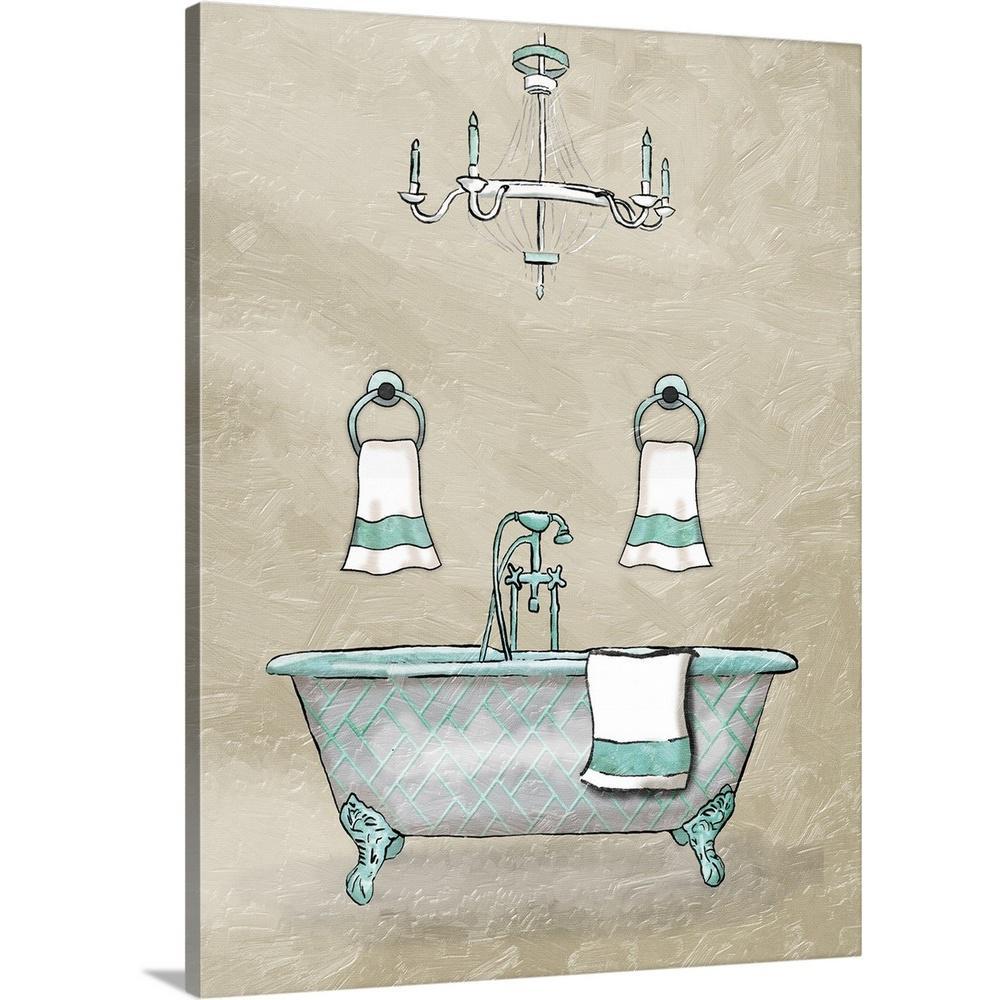 """Chip Teal Bath"" by Jace Grey Canvas Wall Art"