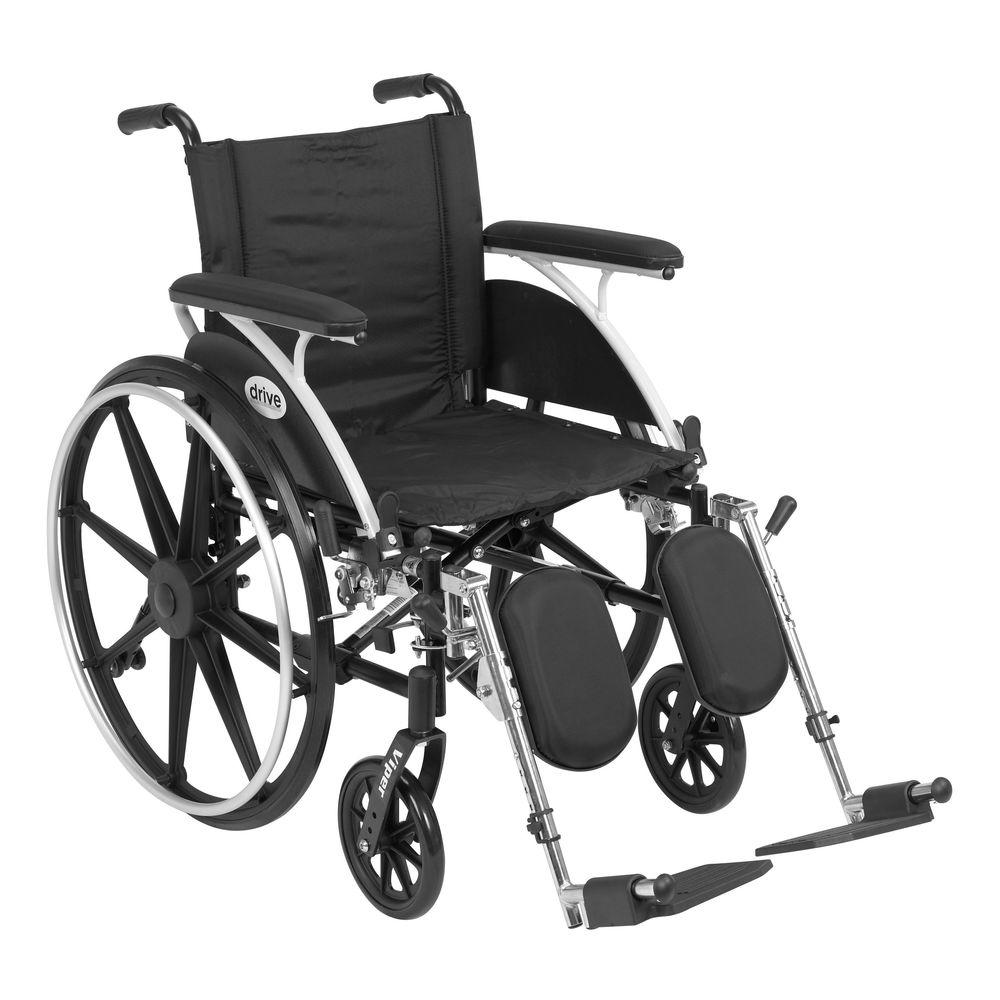 Drive Viper Wheelchair with Removable Flip Back Full Arms and Elevating Legrest
