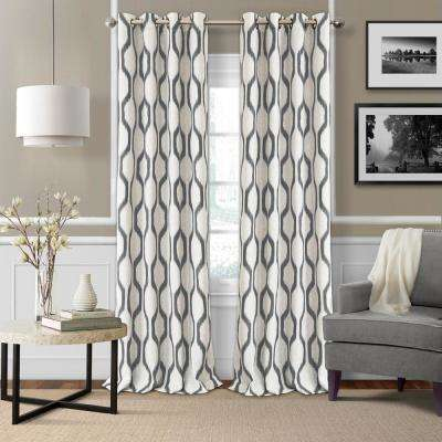 Blackout Slate Gray Blackout Room Darkening Grommet 95 in. Linen Window Curtain Drape Panel