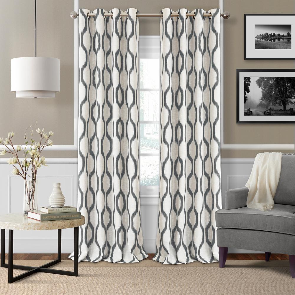 Blackout Slate Gray Blackout Room Darkening Grommet 95 in. Linen Window Curtain Drape Panel
