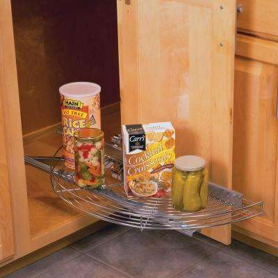 3.25 in. H x 27.81 in. W x 13 in. D Single Shelf Glide-Out Half Moon Frosted Nickel Wire Lazy Susan