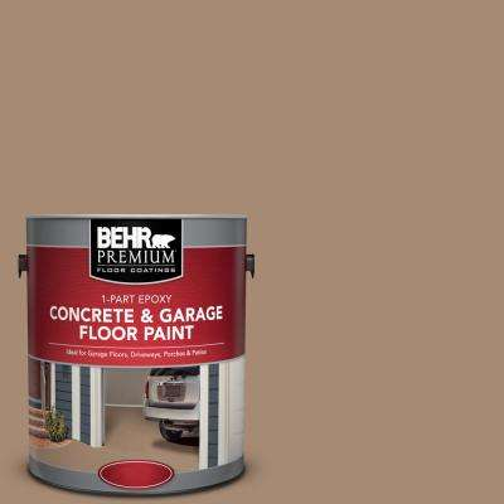 1 gal. #N240-5 Rodeo Tan 1-Part Epoxy Satin Interior/Exterior Concrete and Garage Floor Paint