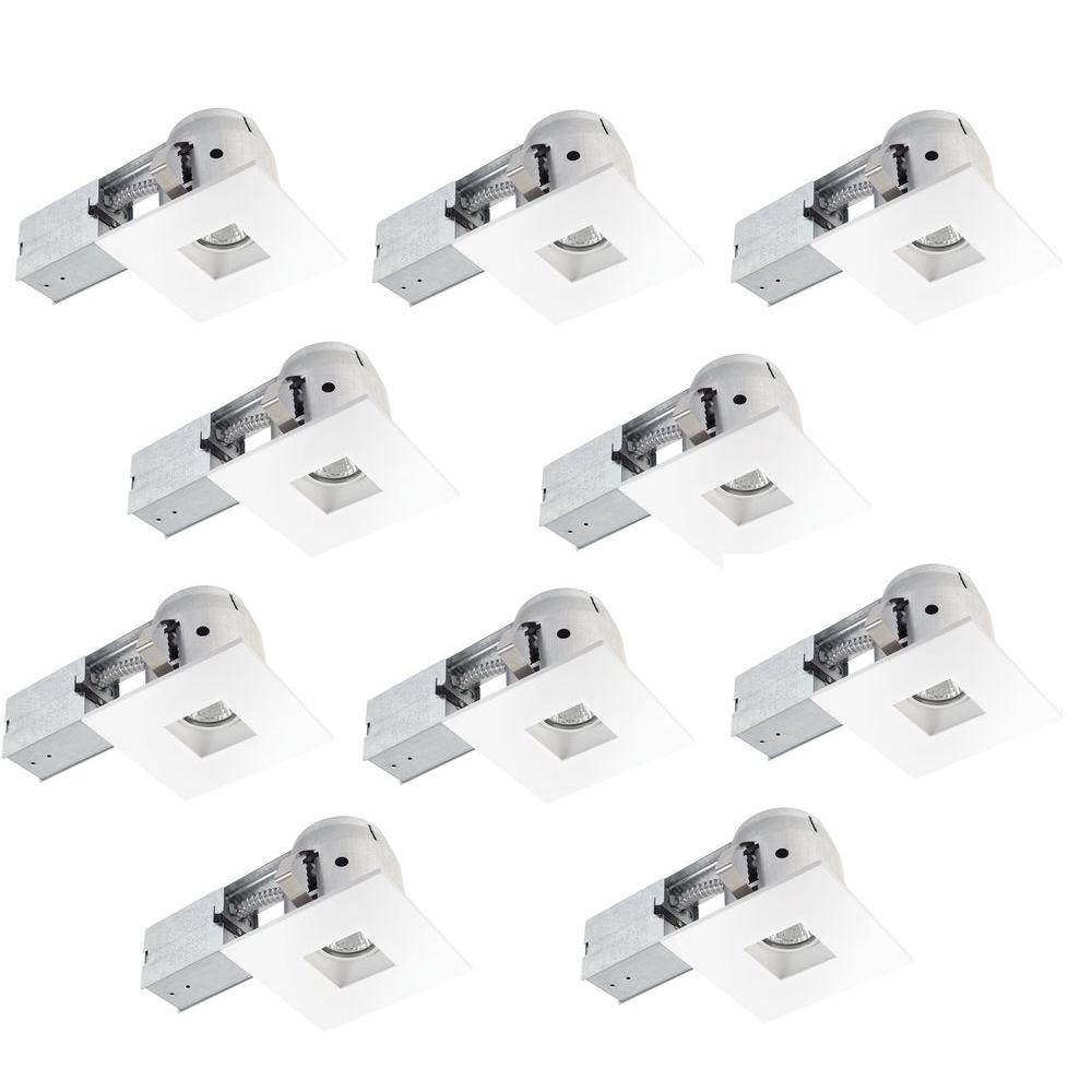 White Dimmable Recessed Square Lighting Kit (10-Pack)  sc 1 st  Nextag & Globe Electric 4 in. White Dimmable Recessed Square Lighting Kit (10 ...