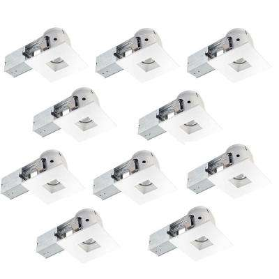 4 in. White Dimmable Recessed Square Lighting Kit (10-Pack)