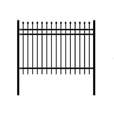 Rome Style 4 ft. x 6 ft. Black Unassembled Steel Fence Panel