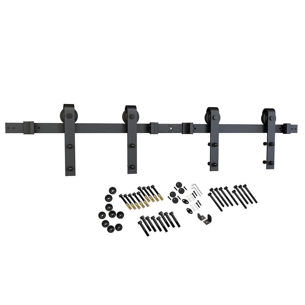 137.75 in. Black Solid Steel Barn Door Hardware Kit for Double Wood Doors with Adjustable Floor Guides (2-Piece Rails)