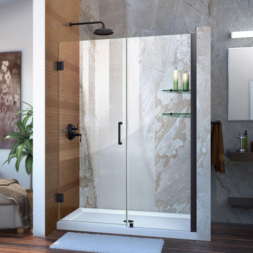 Unidoor 49 to 50 in. x 72 in. Frameless Hinged Shower Door in Satin Black